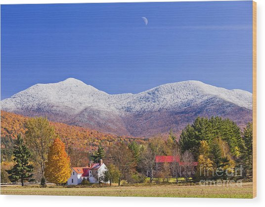 Vermont October Moonrise Wood Print