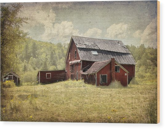 Vermont Red Barn  Wood Print
