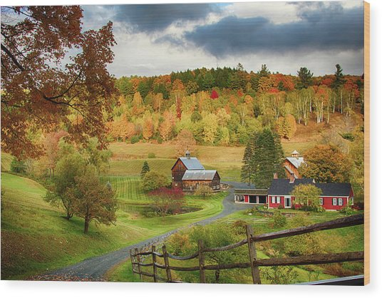 Vermont Sleepy Hollow In Fall Foliage Wood Print