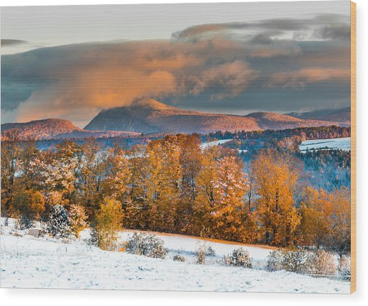 Vermont Snowliage Scene Wood Print