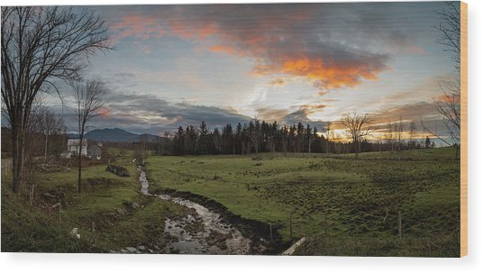 Vermont Sunset Wood Print