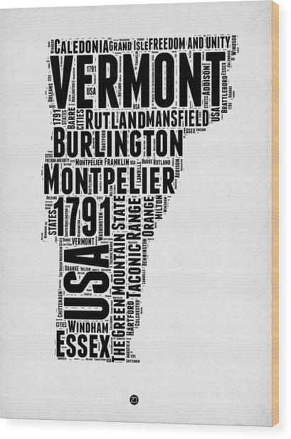 Vermont Word Cloud 2 Wood Print