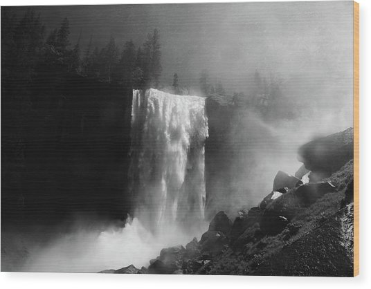 Vernal Fall And Mist Trail Wood Print