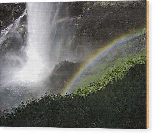 Vernal Falls And Rainbows Wood Print
