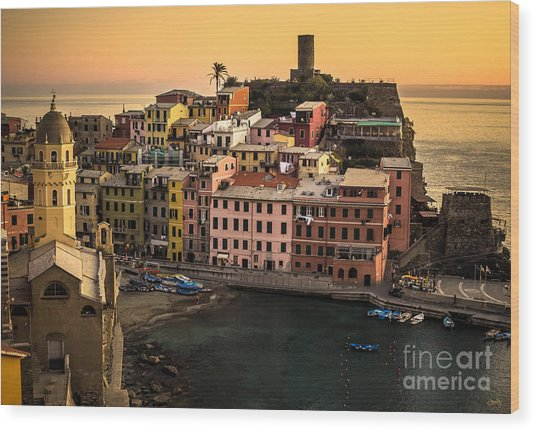 Vernazza At Sunset Wood Print