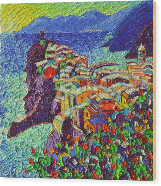 Vernazza Cinque Terre Italy 2 Modern Impressionist Palette Knife Oil Painting By Ana Maria Edulescu  Wood Print
