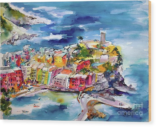 Vernazza Cinque Terre Paintings Of Italy Wood Print