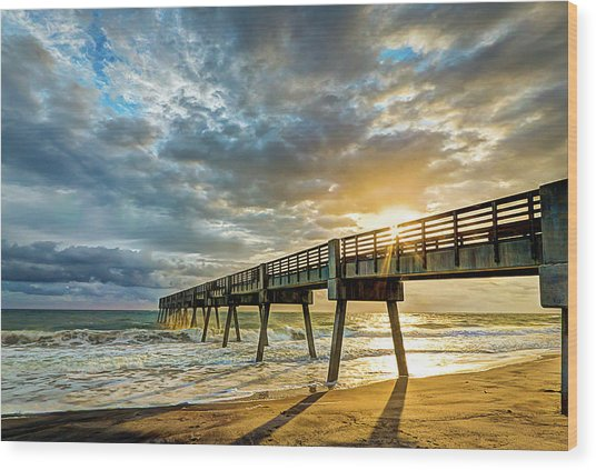 Vero Beach Pier Summertime Wood Print