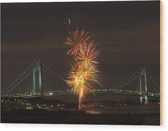 Verrazano Narrows Bridge At 50 Years Old Wood Print