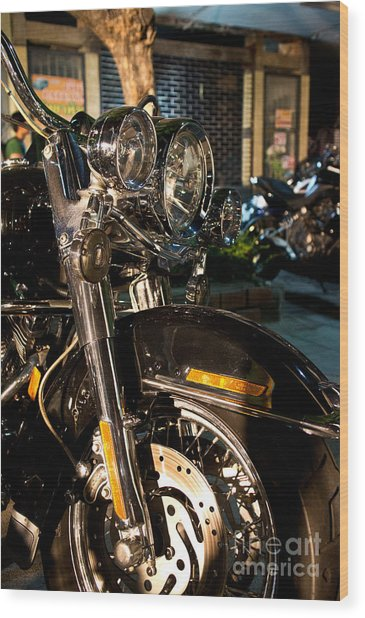 Vertical Front View Of Fat Cruiser Motorcycle With Chrome Fork A Wood Print