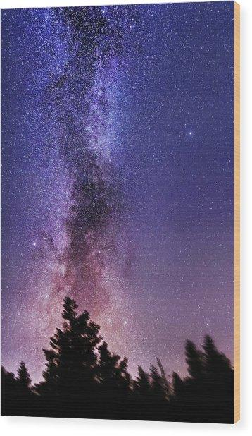 Vertical Milky Way Wood Print