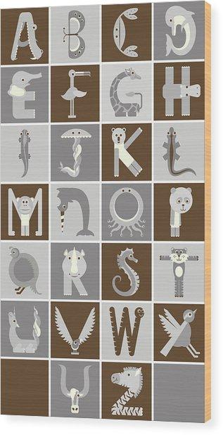 Vertical Neutral Animal Alphabet Complete Poster Wood Print