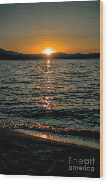 Vertical Sunset Lake Wood Print