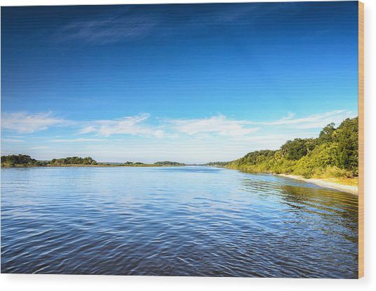 River Blue Wood Print