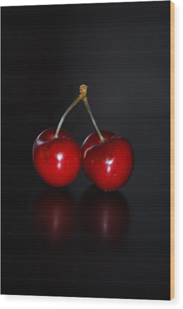 Very Cherry Vertical Wood Print by Peter  McIntosh