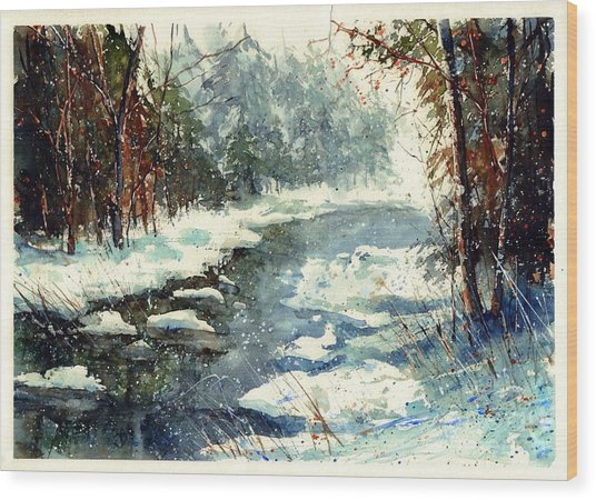 Very Cold Winter Watercolor Wood Print