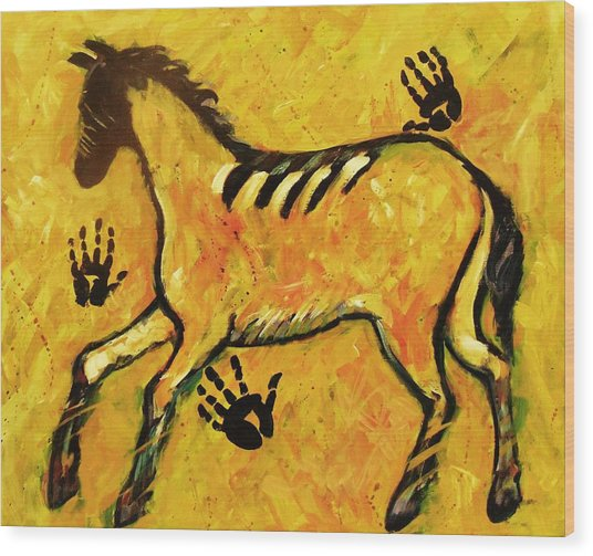 Very Primitive Wild Horse Painting Wood Print