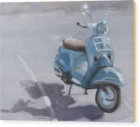 Vespa Shadows Wood Print