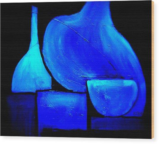 Vessels Blue Wood Print