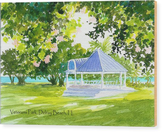 Veterans Park Gazebo Wood Print