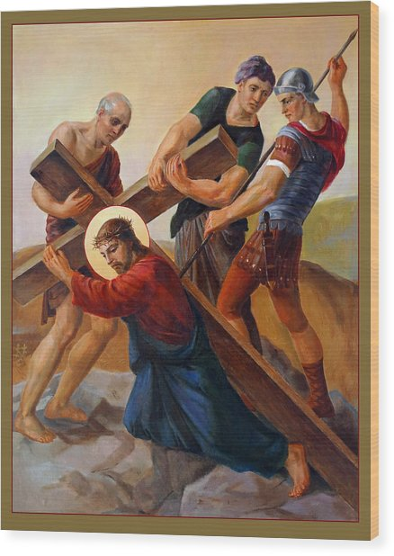 Via Dolorosa - Stations Of The Cross - 3 Wood Print