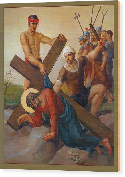 Via Dolorosa - The Second Fall Of Jesus - 7 Wood Print