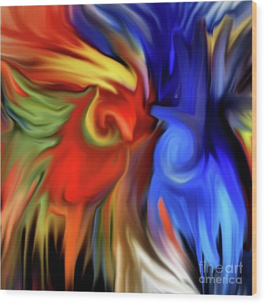 Vibrant Abstract Color Strokes Wood Print