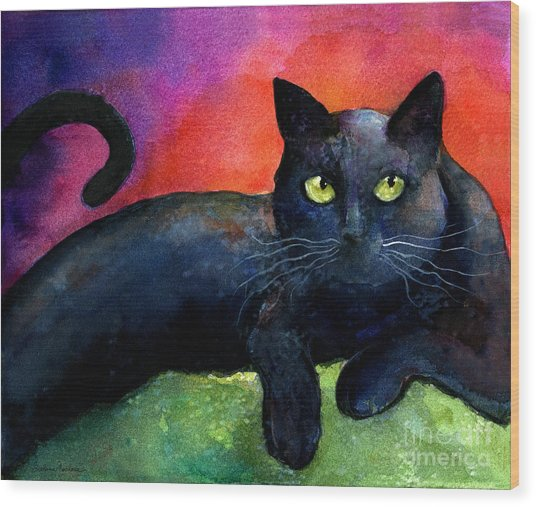Vibrant Black Cat Watercolor Painting  Wood Print
