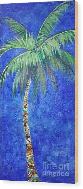 Vibrant Blue Palm Wood Print