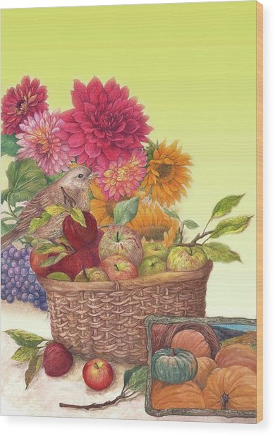 Vibrant Fall Florals And Harvest Wood Print