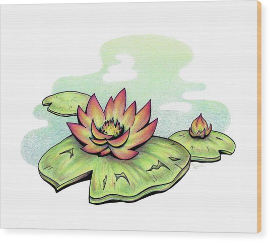 Vibrant Flower 2 Water Lily Wood Print