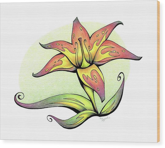 Vibrant Flower 4 Tiger Lily Wood Print
