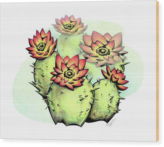 Vibrant Flower 6 Cactus Wood Print