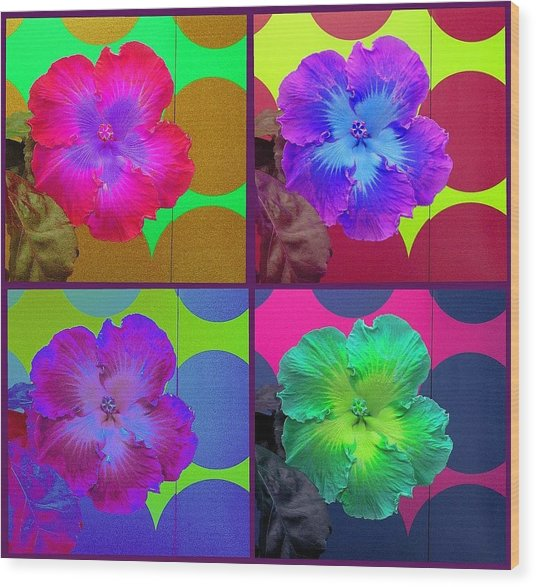 Vibrant Flower Series 2 Wood Print by Jen White