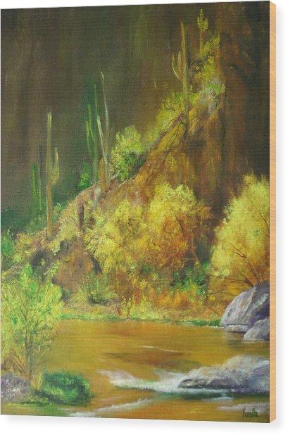 Vibrant Landscape Paintings  - Arizona Canyon Scene - Virgilla Art Wood Print by Virgilla Lammons