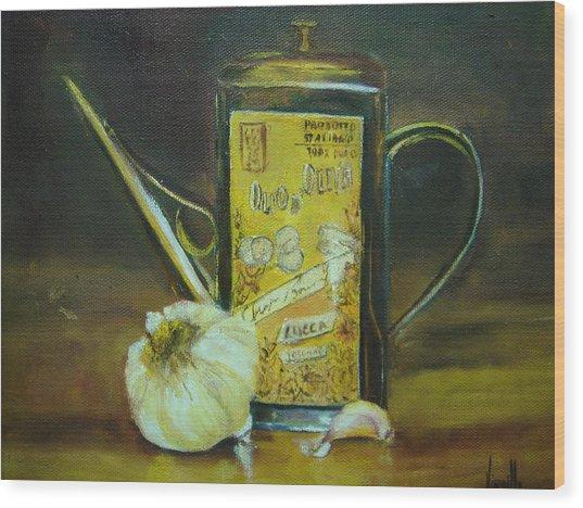 Vibrant Still Life Paintings - Olive Oil With Garlic - Virgilla Art Wood Print by Virgilla Lammons