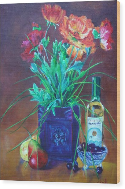 Vibrant Still Life Paintings - Poppies With Fruit And Wine - Virgilla Art Wood Print by Virgilla Lammons