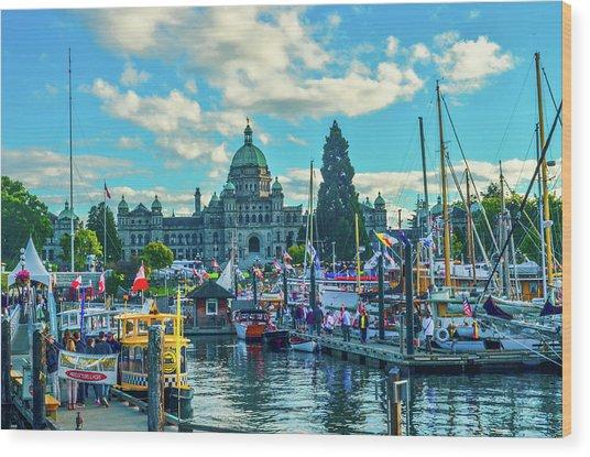 Victoria Harbor Boat Festival Wood Print