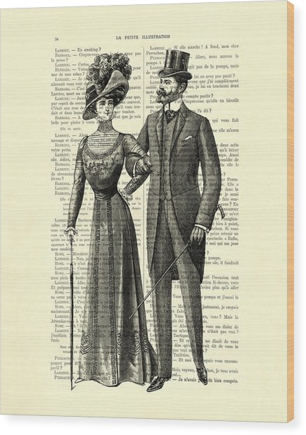 Victorian Couple Wood Print