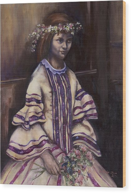 Victorian Girl Wood Print by Victoria  Shea