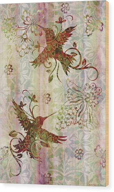 Victorian Humming Bird Pink Wood Print