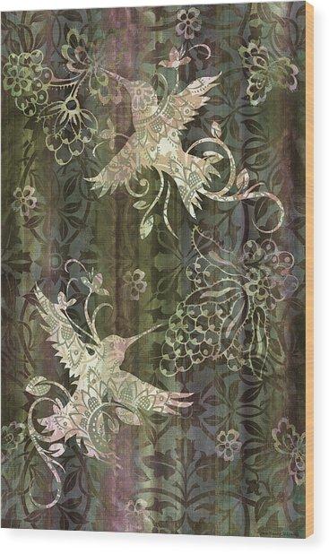 Victorian Hummingbird Green Wood Print