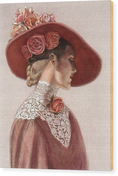 Victorian Lady In A Rose Hat Wood Print