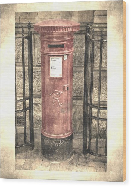 Victorian Red Post Box Wood Print