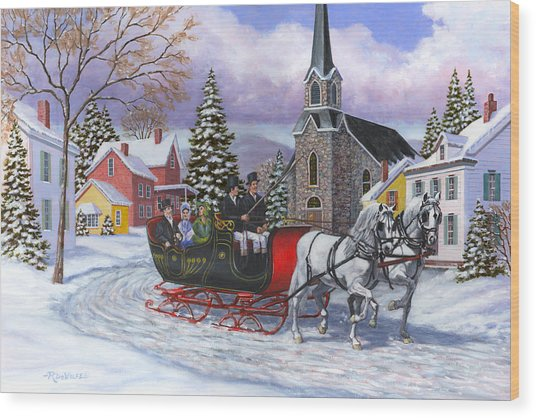 Victorian Sleigh Ride Wood Print