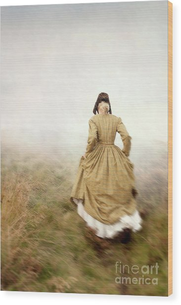 Victorian Woman Running On The Misty Moors Wood Print