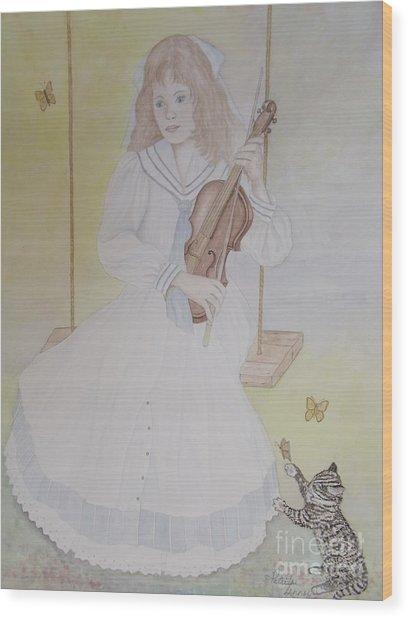 Victoria's Violin Wood Print by Patti Lennox