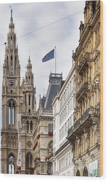 Vienna City Hall Wood Print by Andre Goncalves