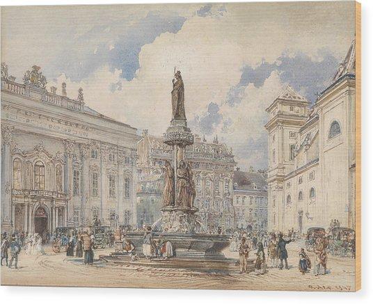 Vienna, Freyung With Austria Fountains Wood Print