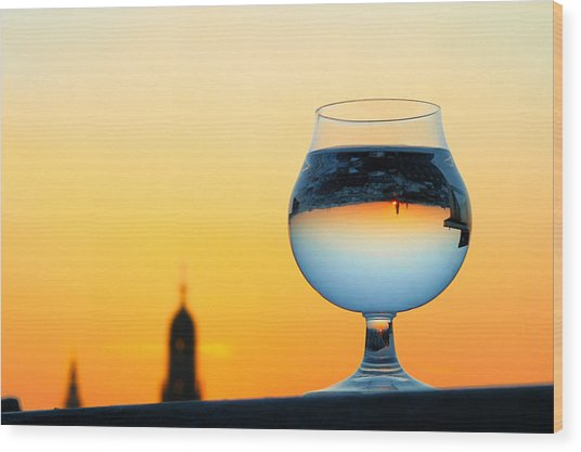 Vienna - Sunset In A Glass Wood Print